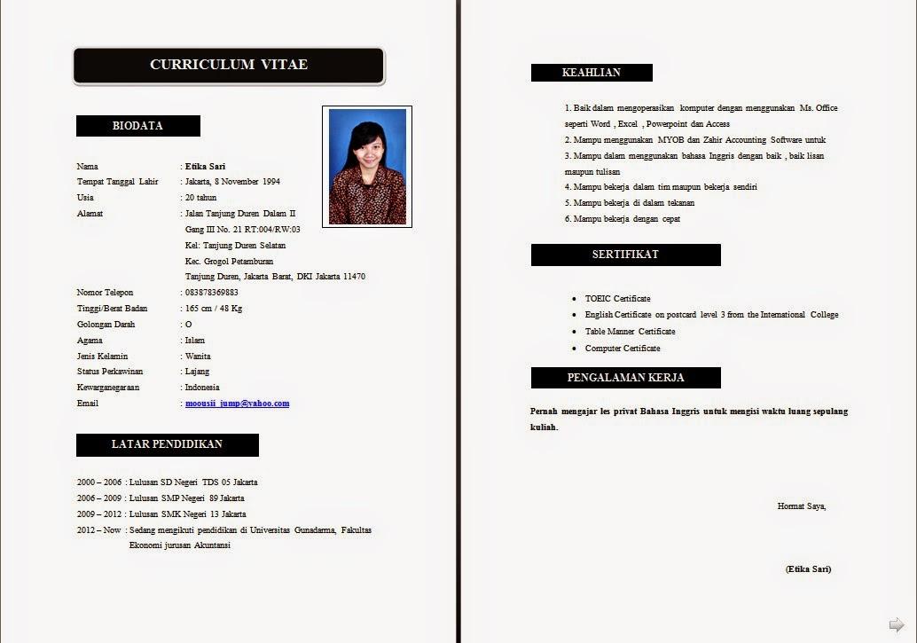 resume cv adalah