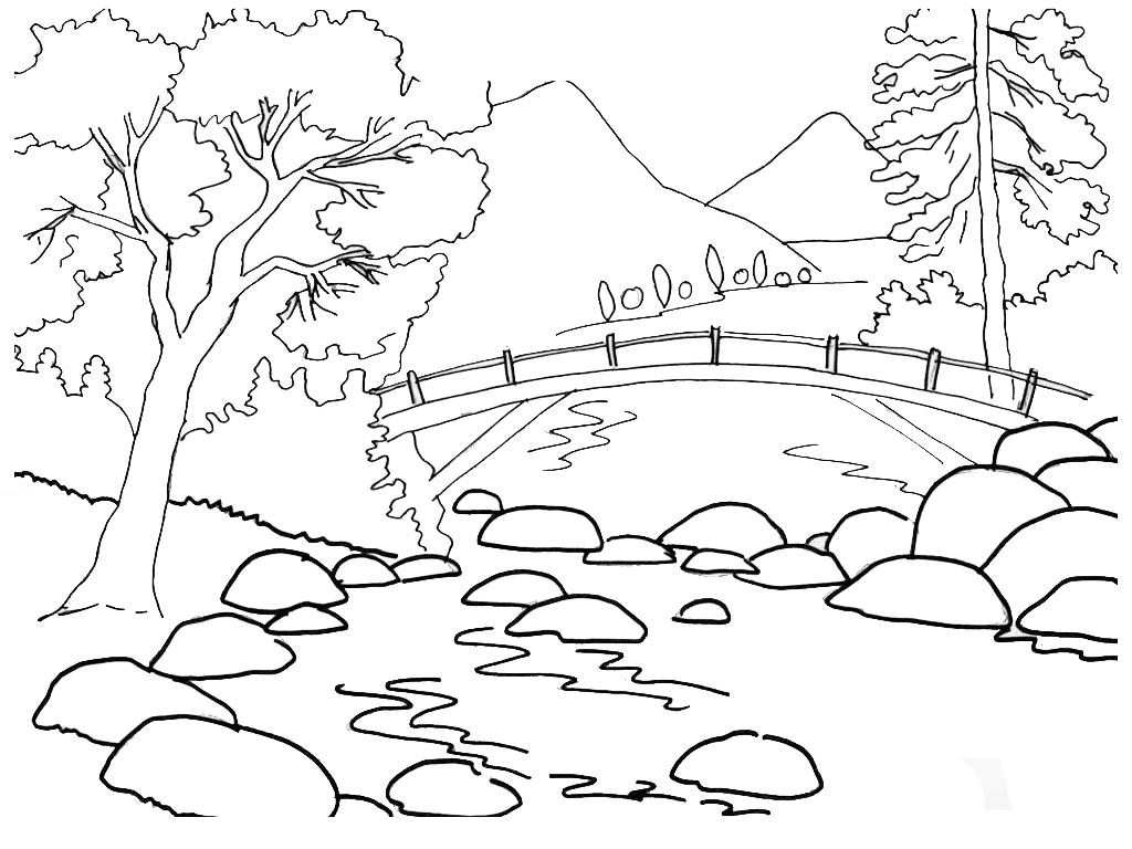 Mewarnai Gambar Pemandangan Alam 4