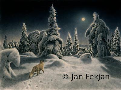 Bilde av digigrafiet 'Det tusler i skogen'. Digitalt trykk laget på bakgrunn av et maleri. Et vintermotiv med en rev blant snøtunge trær, som ser opp mot fullmånen. De snøkledte trærne ligner skikkelser som er ute på vandring i natten. Stilen kan beskrives som figurativ, eventyrlig, nasjonalromantisk og realistisk. Bildet er i breddeformat.
