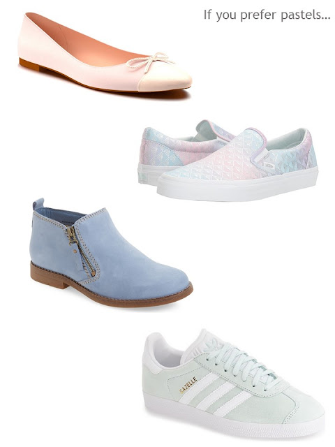 Four pairs of pastel shoes