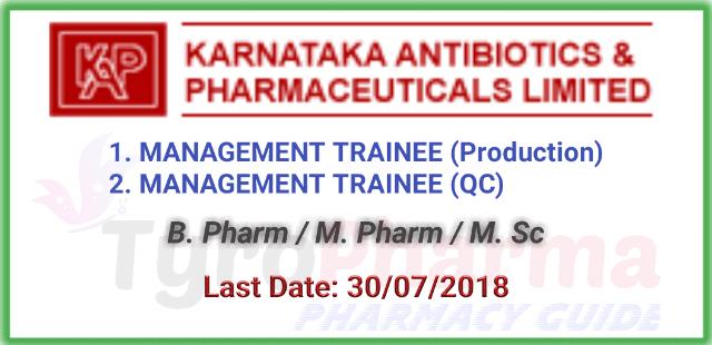 Job openings for Trainee Production and Quality Control | Karnataka Antibiotics