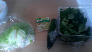 Ingredients for green mixed salad