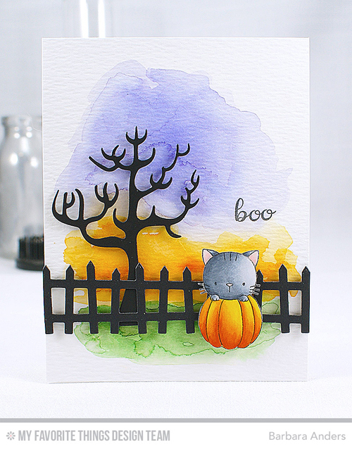 Handmade card from Barbara Anders featuring Cool Cat, Spooky House Die-namics, and Frightful Fence Die-namics #mftstamps
