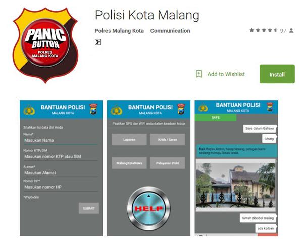 Panic Button Aplikasi Bantuan Polisi Malang