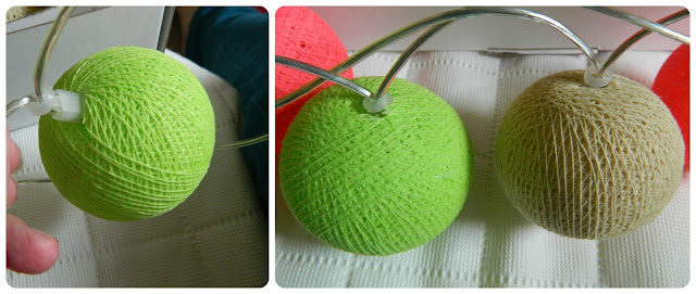 Cable and Cotton lights close up green beige