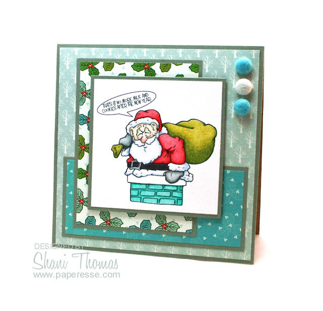 Christmas card featuring QKR Stampede Santa in Chimney digital stamp, by Paperesse.