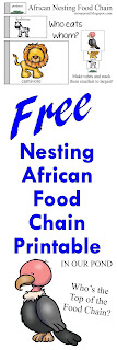 FREE Nesting African Food Chain Printable from In Our Pond