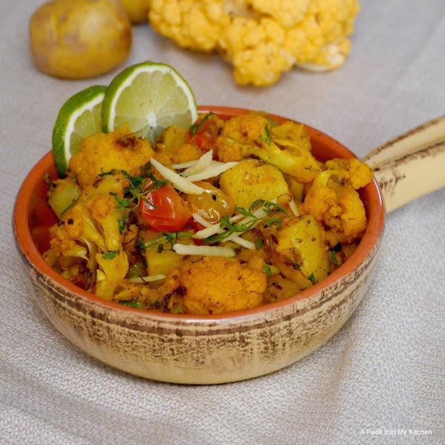 Aloo Gobi Masala / Potato Cauliflower Masala ~ Day 131