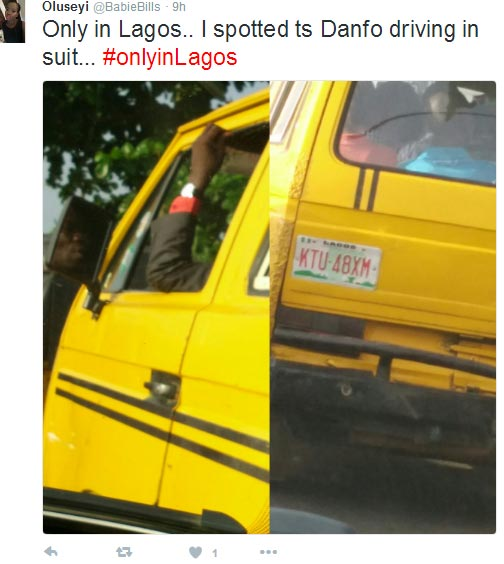 Only in Lagos: Danfo driver spotted wearing suit