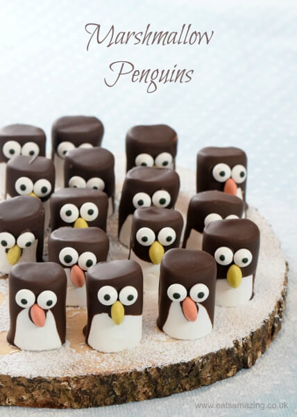 5 Fun Holiday Treats to make with the kiddos over the Holidays-Marshmallow Penguins