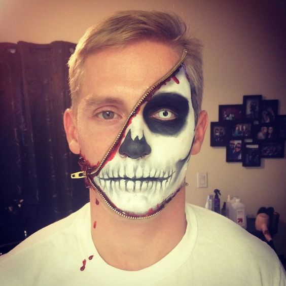maquiagem caveira de halloween masculina facil