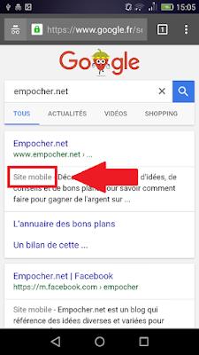 """Mention """"site mobile"""" dans les résultats de recherche de Google"""
