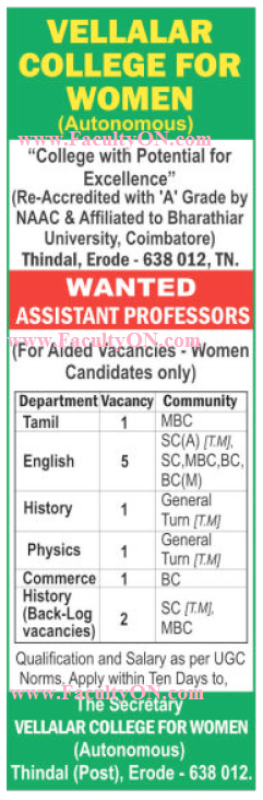 vellalar college for women  erode  wanted assistant