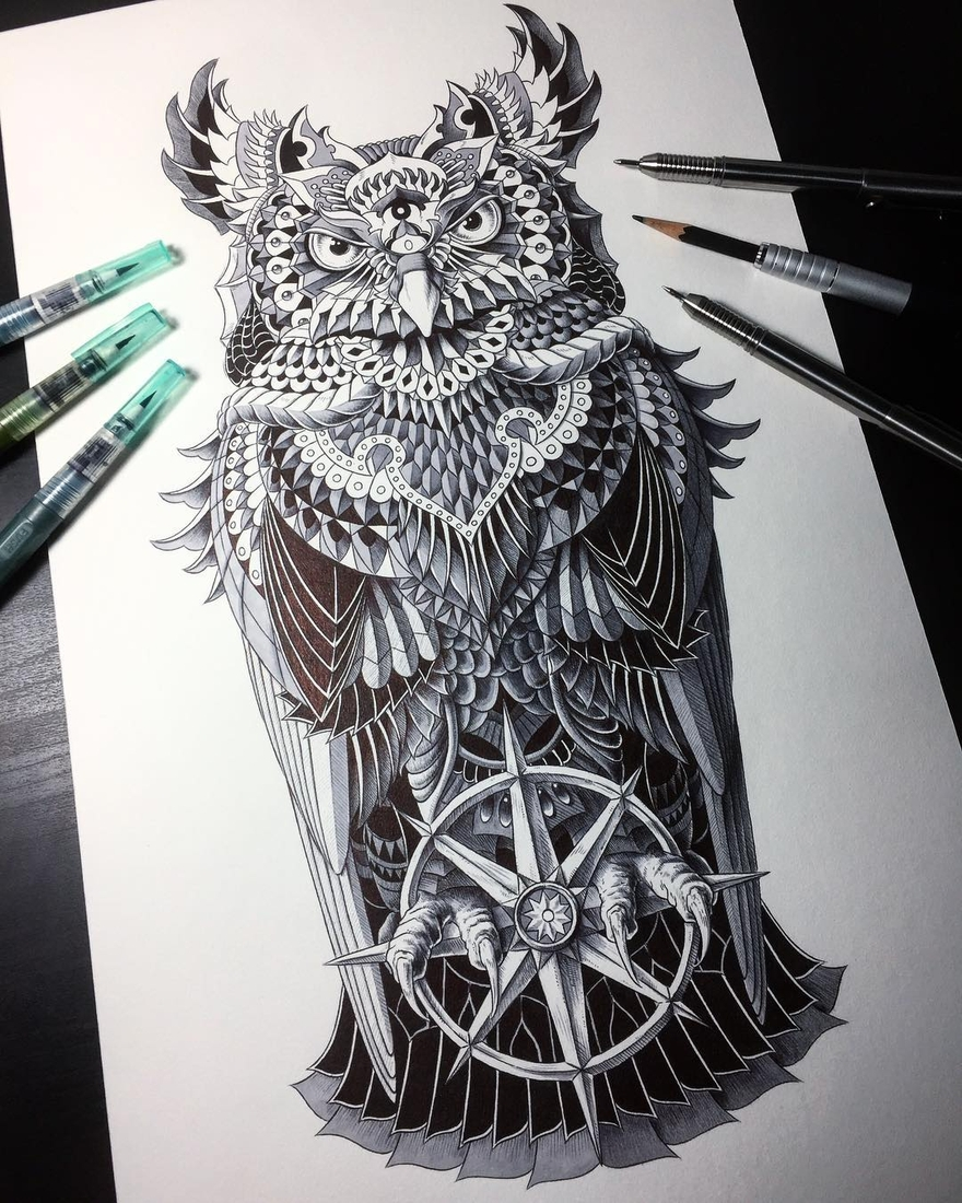 12-Grand-Horned-Owl-Ben-Kwok-bioworkz-Animals-Drawings-Detailed-with-Elaborate-Geometric-Shapes-www-designstack-co
