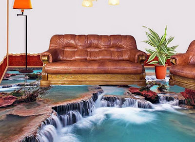3D living room flooring tiles designs with waterfall mountains and greenery