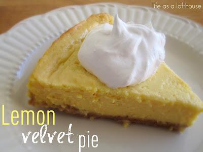 Lemon Velvet Pie is a creamy, velvety pie that is full of lemon flavor. Life-in-the-Lofthouse.com