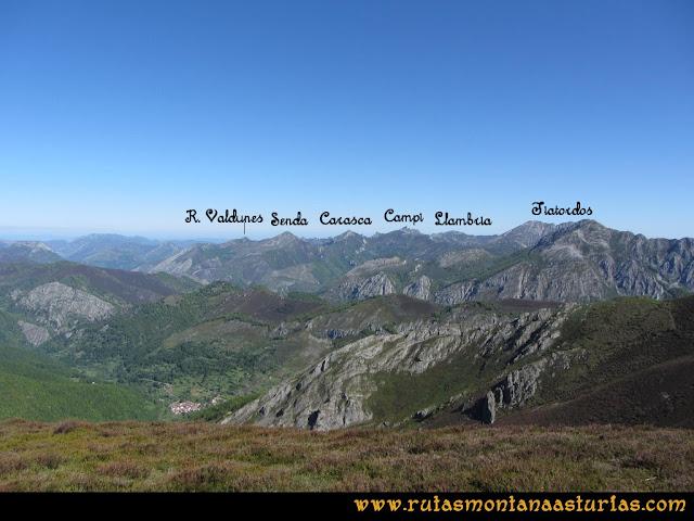 Transcantabrica Tarna-Ponga: Vista desde el Abedular al Tiatordos, La Llambria, El Campigueños, La Senda y la Carasca y el Requexón de Valdunes