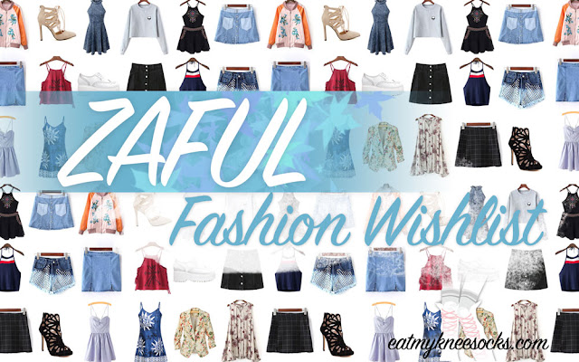 I know I've been posting a ton of fashion reviews lately, so I'm switching things up today with a wishlist instead. This fashion wishlist features a collection of some items from Zaful that caught my eye as I was browsing through their store, including tops, dresses, shoes, and more! - Eat My Knee Socks / Mimchikimchi
