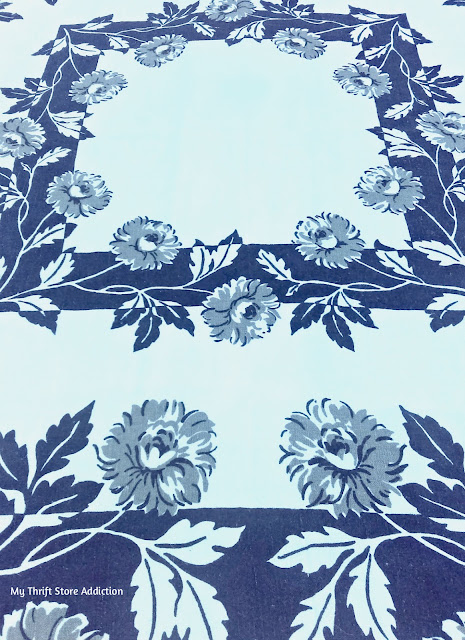 Gray and navy vintage tablecloth