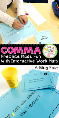 Help engage upper elementary students when reviewing Comma Rules with some fun work mat activities. These activities can be completed with play dough, pasta, or dry erase markers. These comma mats may be used as center task card or as scoot activities.