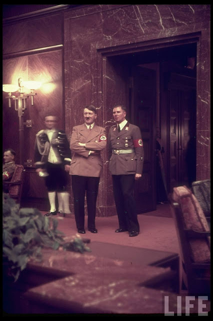 Adolf Hitler and Albert Bormann color photos of World War II worldwartwo.filminspector.com