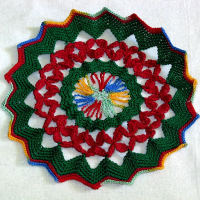 Red Petals and Green Crochet Art Trinket Doily Set by RSS Designs In Fiber