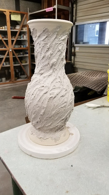 Pottery ceramic vase in progress, by Lily L.