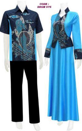 Couple gamis batik kombinasi polos untuk pasangan muda