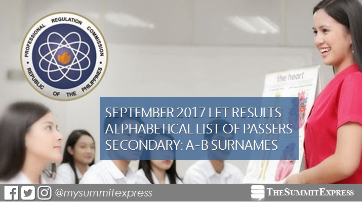 LET Result: A-B Passers Secondary September 2017