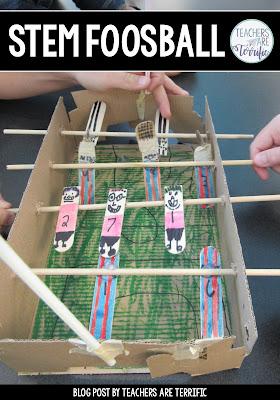 STEM Foosball! This challenge will have students building a foosball model that has two teams trying to kick a ball or marble. Students create the foosball players, design the format of the players, and add details to make the set fun. Grab a FREEBIE STEM challenge on this blog post that will get you set up to try this in your classroom. The resource includes teacher directions, lab sheets, and a rubric. Forms are editable! Let the competitions begin!