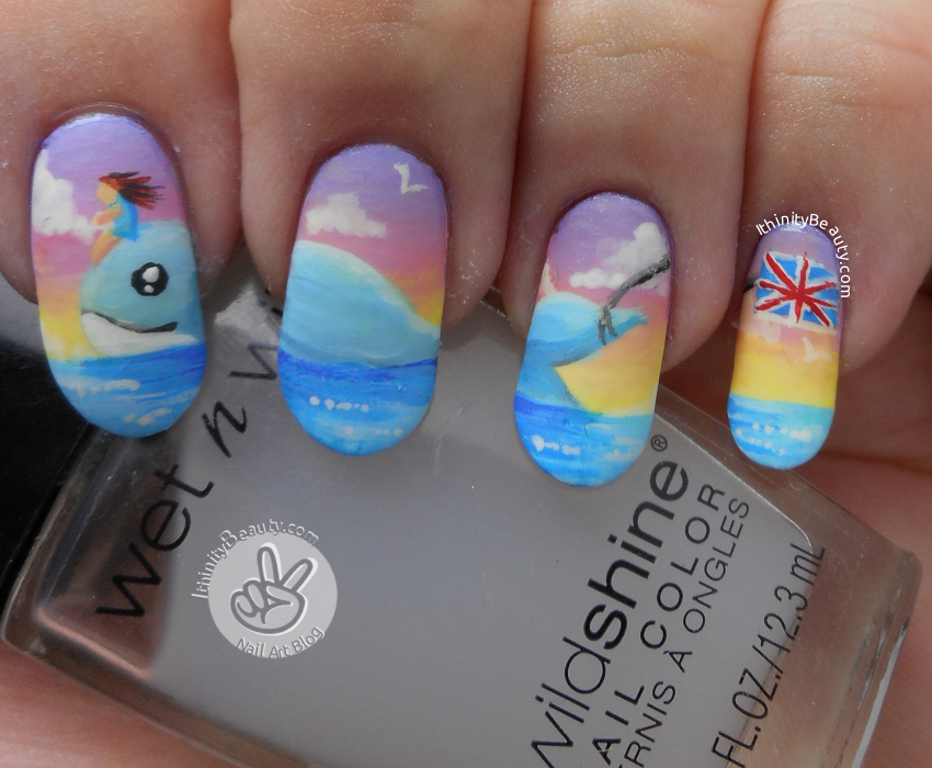 The Whale Boat Freehand Going To England Nail Art
