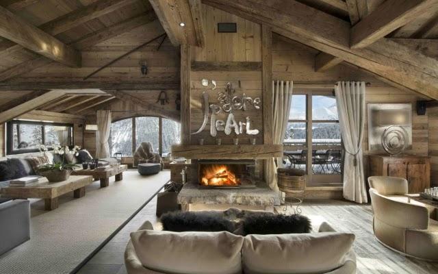 Diseño sala rústica chimenea