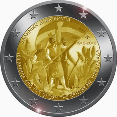 2 Euro Commemorative Coins Greece 2013, 100th Anniversary of the Union of Crete with Greece