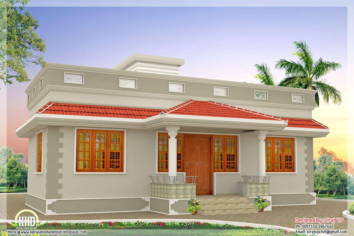1000 kerala style single floor 3 bedroom home for Single house front design