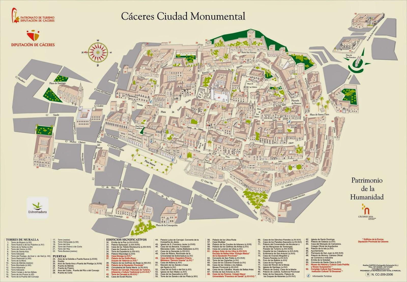 Mapa turístico de Cáceres.