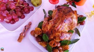 Pollo asado con uvas y casta�as