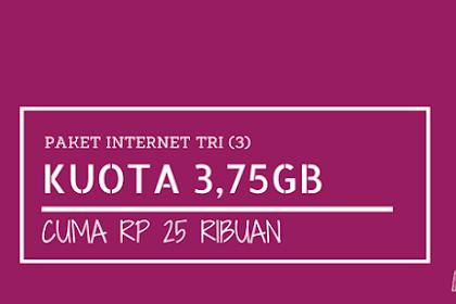Paket Tri 4G LTE Tri 3.75GB Cuma 25 ribu (1.75GB + 2GB 4G berlaku 14 hari), Caranya Begini?