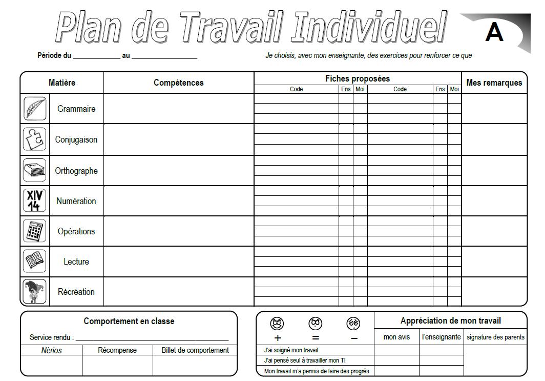 Gut gemocht Journal de classe des CE2: Plan de Travail Individuel (T.I.) MO68
