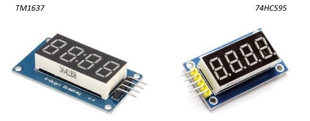 Comparação módulo TM1637 e módulo 74HC595