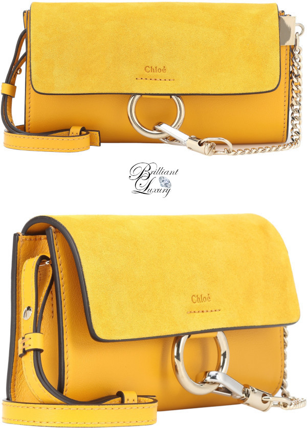 Brilliant Luxury♦Chloé Faye mini leather wallet bag in yellow