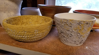 Bubble glaze pottery pieces, in progress.