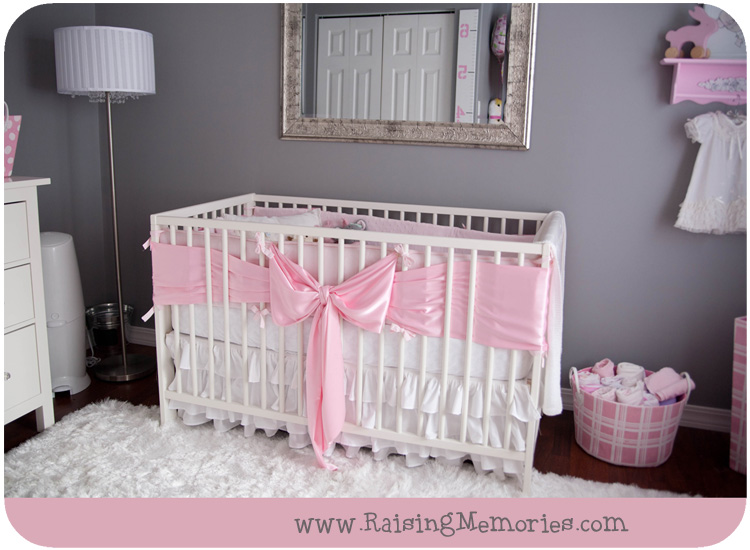 Crib with Bow on it by www.RaisingMemories.com