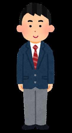 ブレザーを着た男子学生のイラスト(冬服・学生服)