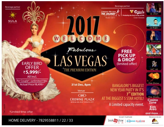 New year events list @Bangalore | December 2016 events offers | Tags: New year events @ Hyderababd | December 2016 Events | Year end parties | pubs |DJ | disco |price |ticket | cost | Taj |31st  | night |Party