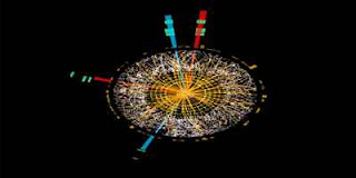 Candidate Higgs boson event from collisions in 2012 between protons in the ATLAS detector on the LHC (Image: ATLAS/CERN)