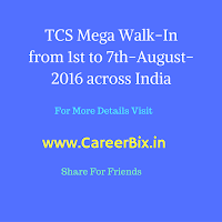 TCS Mega Walk-In drive from 1st to 7th-August-2016 across the India