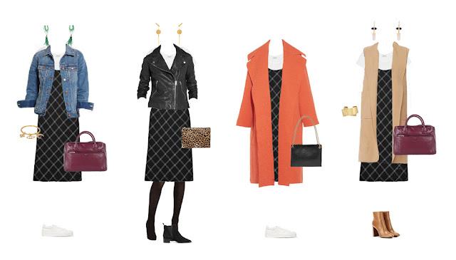 Комплекты капсульного гардероба с платьем комбинацией