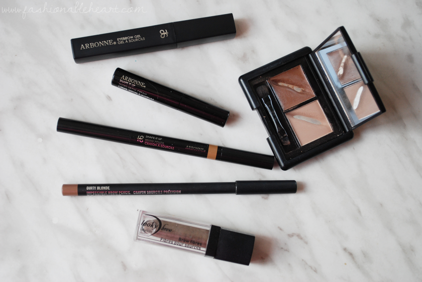 bbloggers, bbloggersca, canadian beauty bloggers, eyebrows, eyebrow kit, fibres, fibers, arbonne, arbonne canada, tinted cream, brow gel, mac cosmetics, looky brow, elle r cosmetiques, elf, eyes lips face, pencil, favorite, product review
