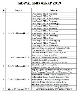 Jadwal Emis Genap 2019 Seluruh Indonesia