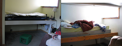 Before and after gold rush cabin clean up of bed
